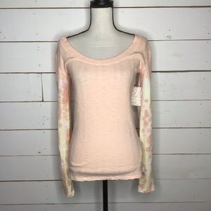 New Free People Big Sur Long Sleeve Tee, Soft Pink